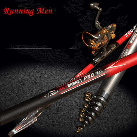 2.4-6.3M Portable Superhard Carbon Telescopic Spinning Rock Fishing Rod