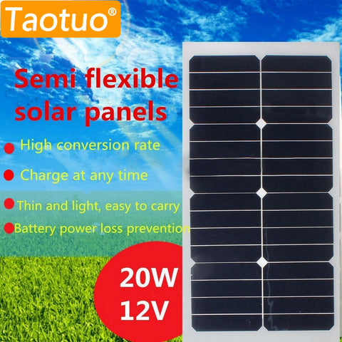 20W 12V Solar Panel Monocrystalline Silicon Semi Flexible Solar Board Power Generater For Battery RV Car Boat Aircraft