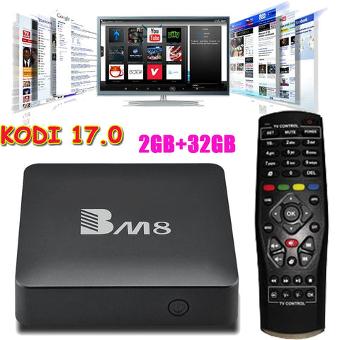 BM8 Smart Android 6.0 TV Box Amlogic S905X Quad Core 2GB/32GB KODI 17.0 XBMC 4K HDMI 2.4G&5G WiFi Miracast BT4.0 HD Media Player