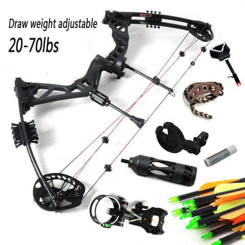 Black Right handed hunting compound bow and arrow set 5-pin opt sight release rest  draw length and draw weight are adjustable