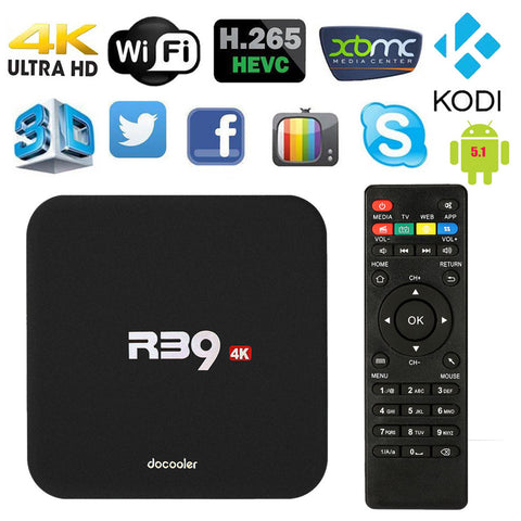 Docooler R39 Smart Android 5.1 TV Box RK3229 Quad Core KODI 16.1 XBMC UHD 4K 1G /8G Mini PC WiFi H.265 Miracast HD Media Player