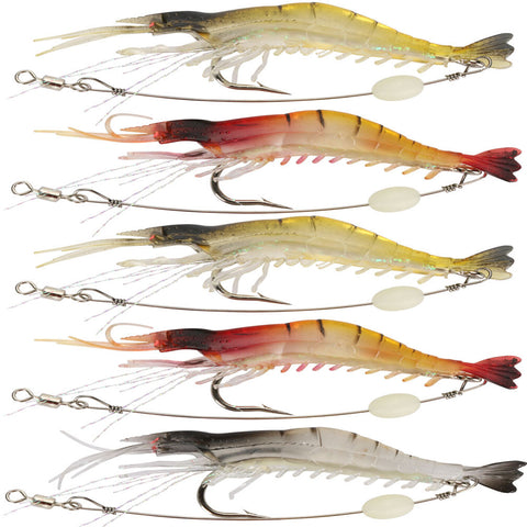 Goture 5pcs/lot 9cm/6g Soft Fishing Lure Shrimp Luminous Artificial Bait With Swivel 3 Colors Fishing Lures Baits