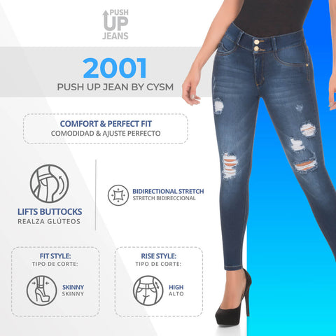 CYSM  Colombian Butt Lift Push Up Jeans Levanta Cola | REF #2001 Jeans Virtual Sensuality- LAPG