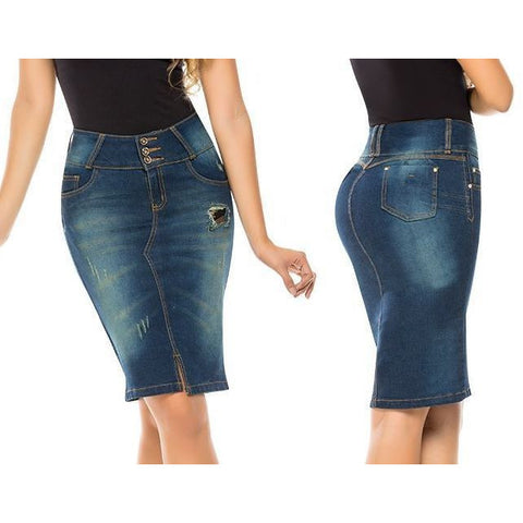 VIRTUAL SENSUALITY Colombian Butt Lift Push Up Jeans Denim Pencil Skirt (1-14)-Skirts-Virtual Sensuality-11-LAPG