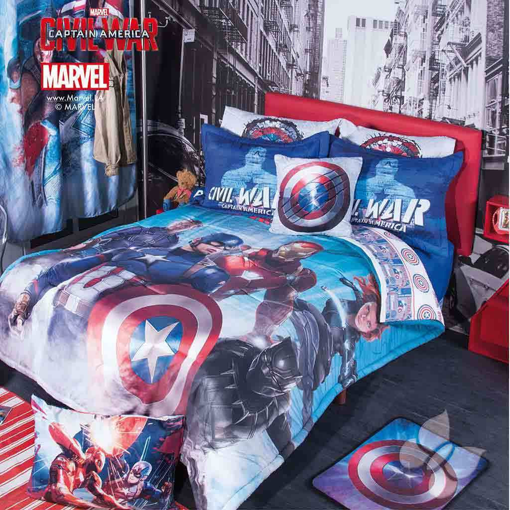 marvel captain america iron man civil war bed comforter & cushion