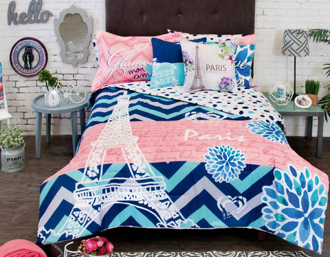 Paris Glam Comforter Set with Shams & Pillow -Add Sheet Set Girl Bedroom