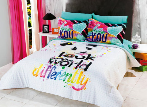 "Panda ""Be You"" Comforter Set with Shams -Add Sheet Set Girls Bedroom"