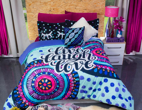Live Laugh Love Comforter Set with Shams -Add Sheet Set Girls Bedroom Bedding Sets Intima Hogar- LAPG
