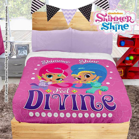 Nickelodeon Shimmer & Shine Blanket with Sherpa (Sheet Set Not Included) 2019 Bedding Sets Intima Hogar- LAPG
