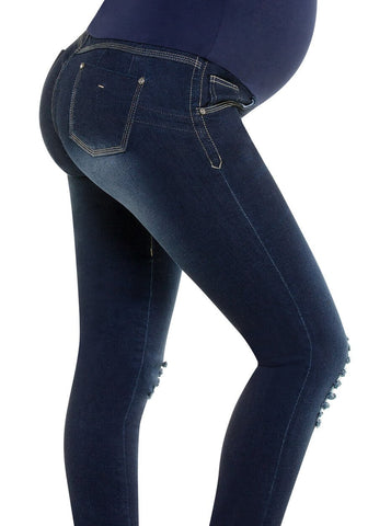 CYSM -  Maternity Butt Lift Jeans Stretch Push Up Pregnancy Waist Support | Levanta Cola | LESLIE Jeans CYSM- LAPG