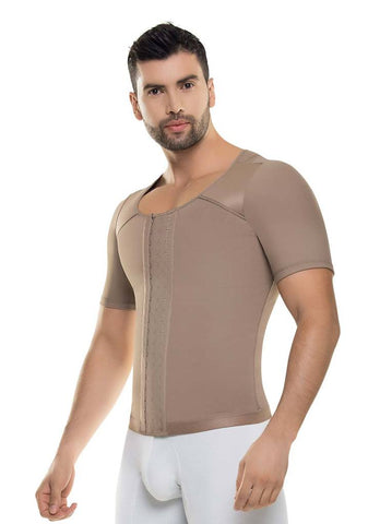 VS 481 - Men's Arm and Abdomen Control Shirt - Daily Use - Post Surgery - Posture Corrector - Flattens Abs Shapewear Virtual Sensuality Fajate- LAPG