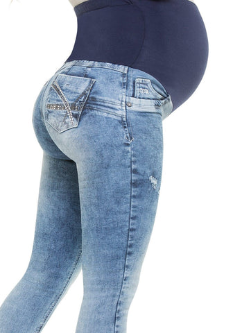 CYSM -  Maternity Butt Lift Jeans Stretch Push Up Pregnancy Waist Support | Levanta Cola | VALENTINA Jeans CYSM- LAPG