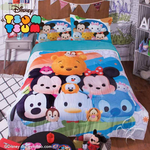 Disney Tsum Tsum Comforter with Shams -Add Sheet Set Girl's Bedroom Bedding Sets Intima Hogar- LAPG