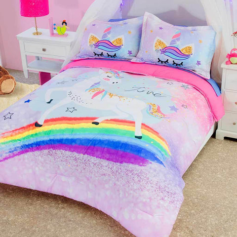 Rainbow Unicorn Comforter & Shams Set (Sheet Set Separate) 2019 Bedding Sets Intima Hogar- LAPG