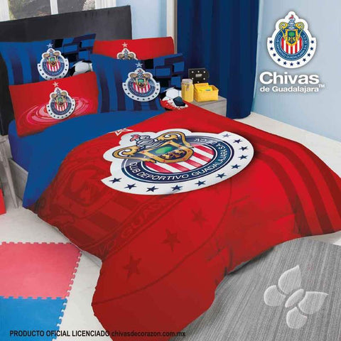 Club Chivas Mexico Futbol Soccer Comforter Set- Add Sheet Set Bedding Sets Intima Hogar- LAPG