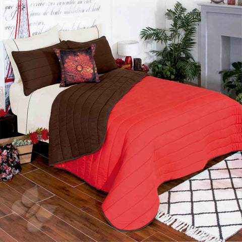 Frida Solid Red and Brown Soft Cozy Microfiber Reversible Comforter with Shams
