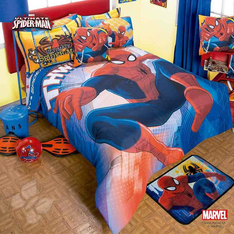 Spiderman Attack Superhero  Comforter Set - Add Sheet Set Bedding Sets Intima Hogar- LAPG
