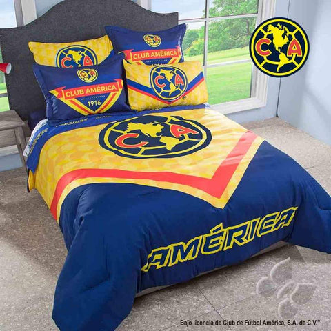 Club America Aguilas Mexico Futbol Soccer Comforter Set- Add Sheet Set Bedding Sets Intima Hogar- LAPG