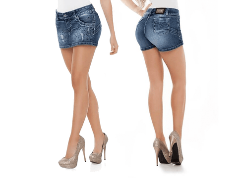 Virtual Sensuality Jeans Colombian Push Up Butt Lifting Shorts, LAGUNA