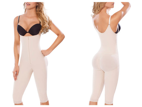 Moldeate 5046 Powernet Knee-length Open Bust Push Up & Waist Control Body Shaper Colombian Shapewear Shapewear Moldeate- LAPG