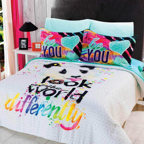 Panda Look at The World Differently - Be You- Comforter & Shams Set (Sheet Set Separate) 2019 Bedding Sets Intima Hogar- LAPG