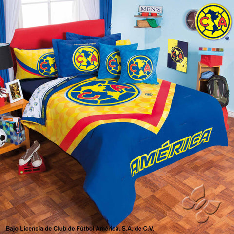 Club America Futbol Soccer Fan Boy's Room Bedding Comforter and Sheet Set-Bedding Sets-Intima Hogar-Twin-LAPG