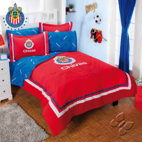 Club Chivas Futbol Soccer Fan Boy's Room Bedding Comforter and Sheet Set-Bedding Sets-Intima Hogar-Twin-LAPG