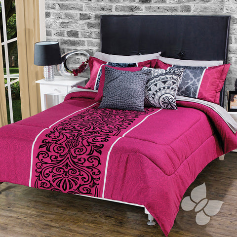 Almodovar Fuchsia Black Floral and Swirls Pattern Soft Cozy Reversible Comforter Set