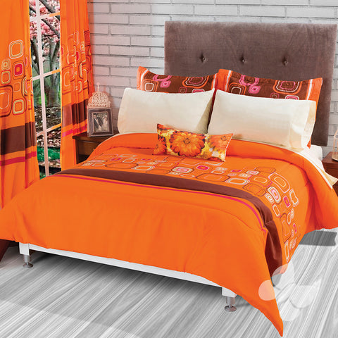 Miriam Geometric Orange Soft Cozy Reversible Comforter with Shams and Pillow