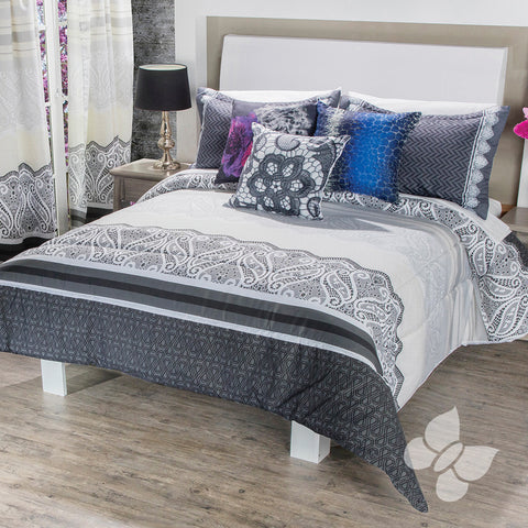 Raquel Elegant Black and White Lace-Look Soft Cozy Reversible Comforter with Shams and Pillow