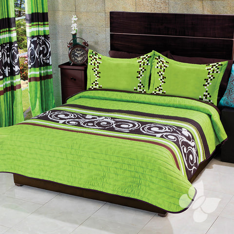 Vigo Green Swirls and Stripes Soft Cozy Microfiber Reversible Comforter with Shams