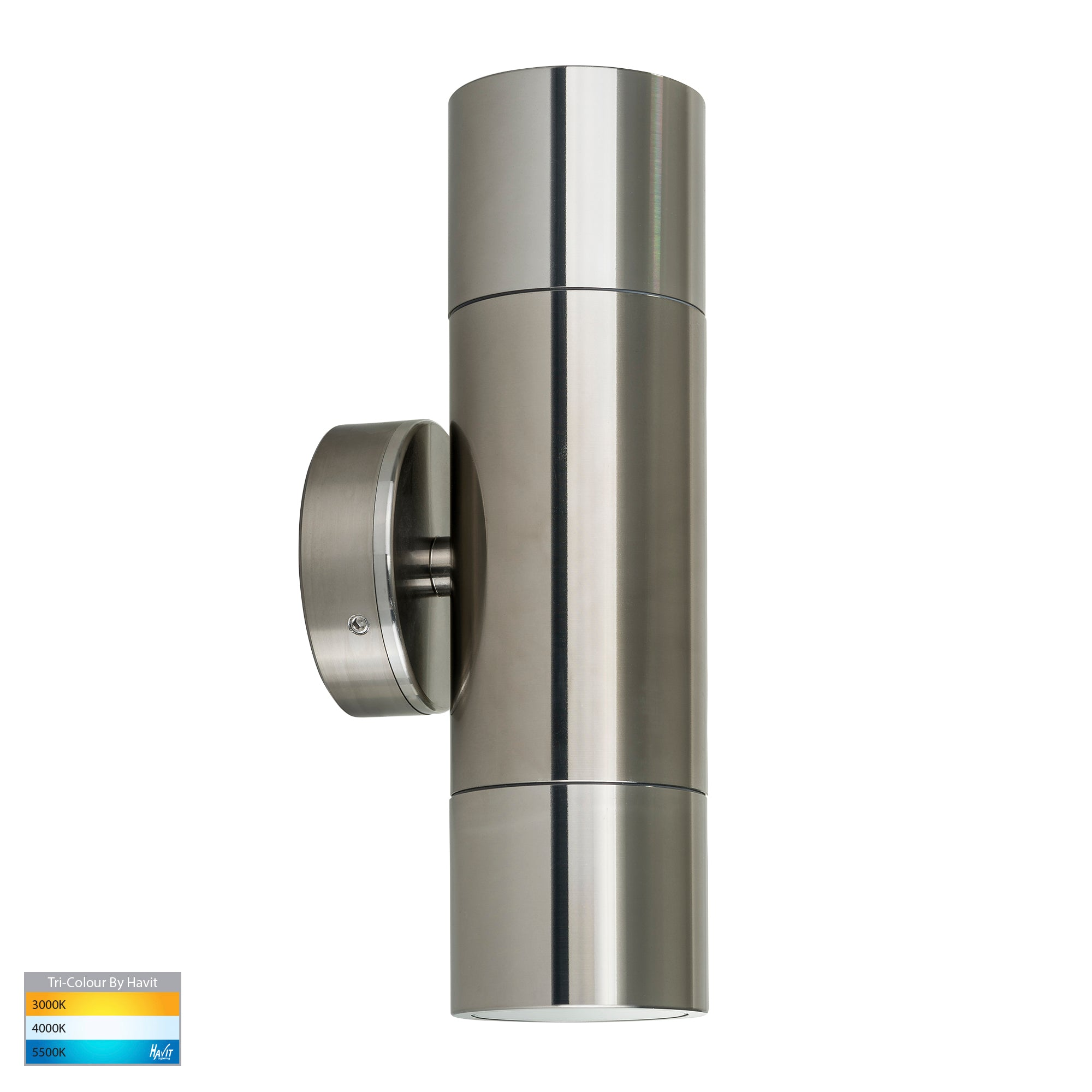 HV1085T-HV1087T - Tivah Titanium Aluminium TRI Colour Up & Down Wall Pillar Lights