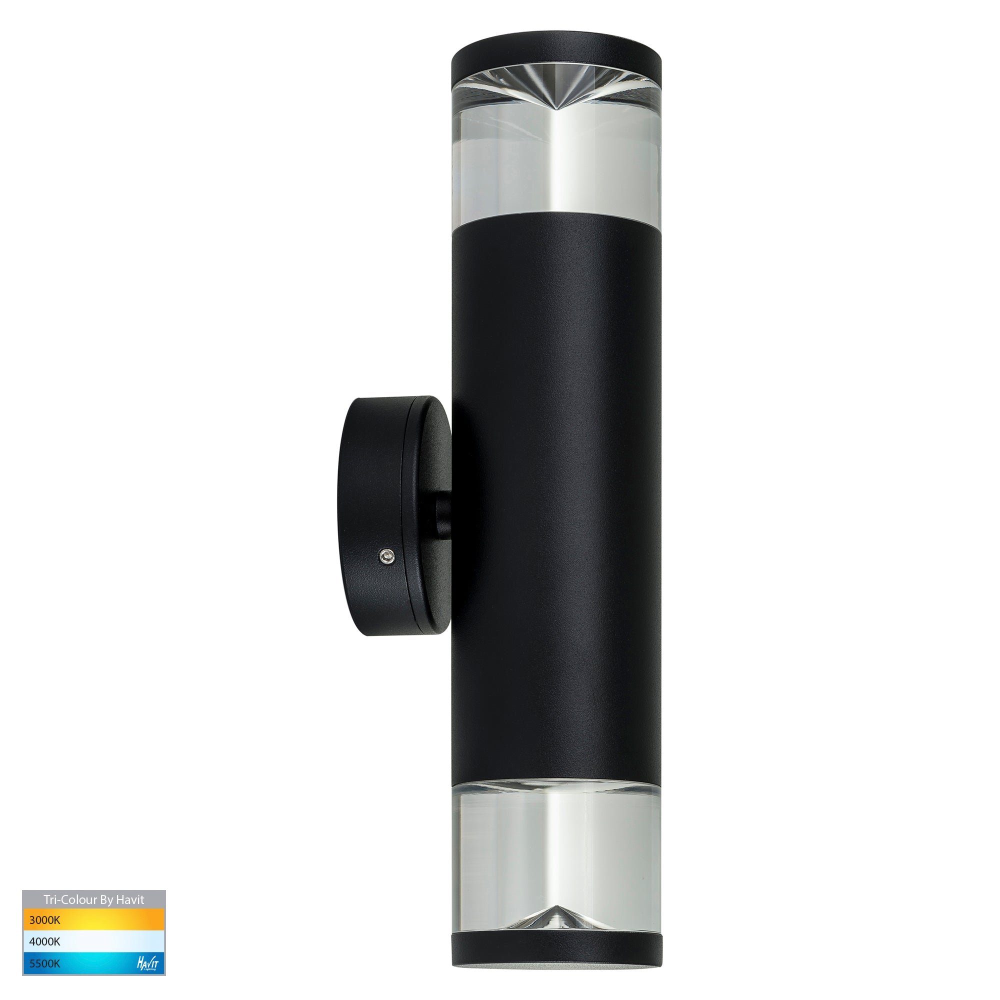 HV1089T-BLK - Highlite Black TRI Colour Up & Down Wall Pillar Lights