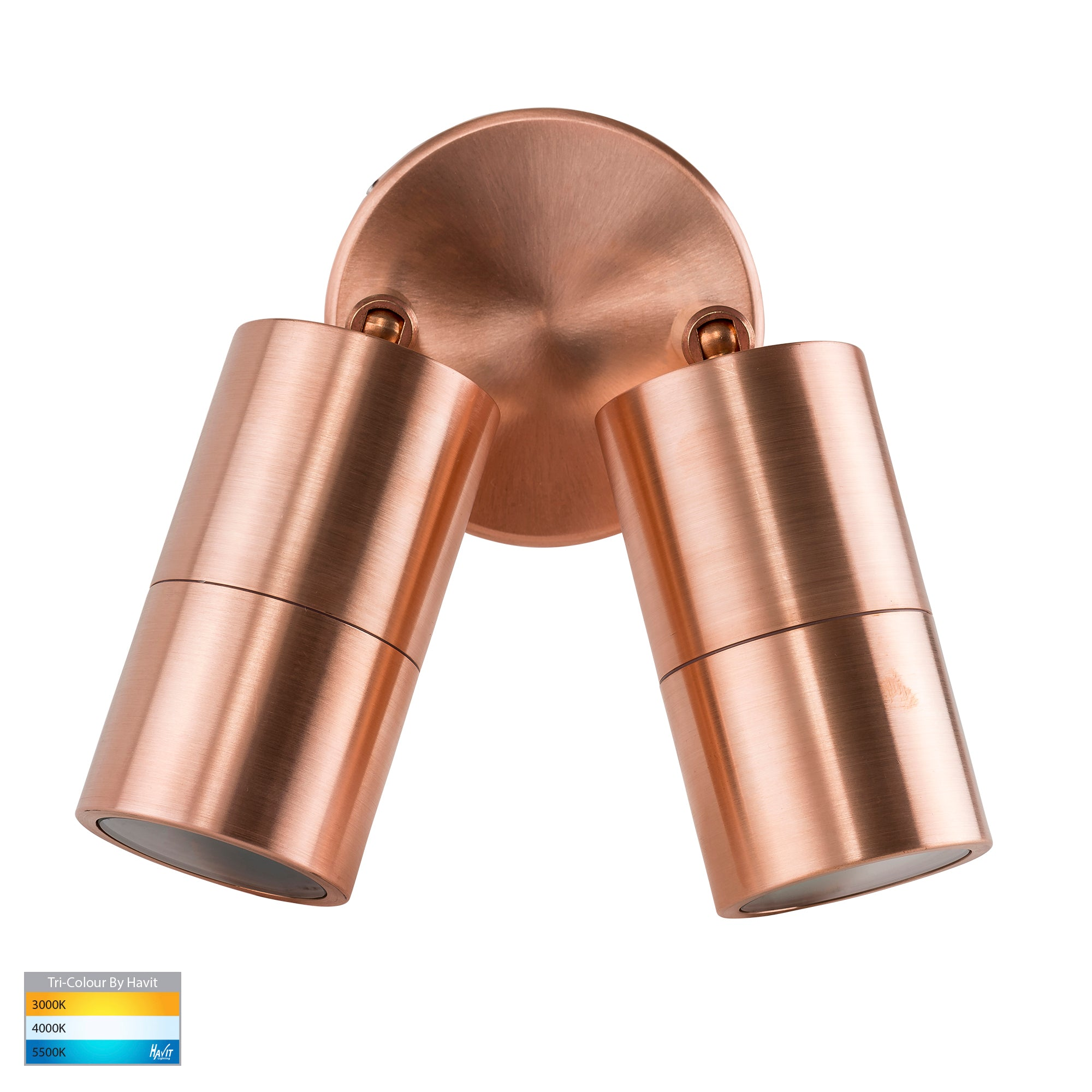 HV1315T-HV1317T - Tivah Solid Copper TRI Colour Double Adjustable Wall Pillar Lights