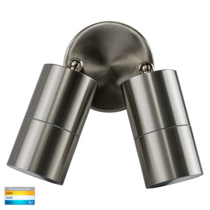 HV1372T - Fortis Stainless Steel TRI Colour Double Adjustable Wall Pillar Light