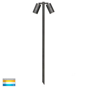 HV1405T-AB - Tivah Antique Brass TRI Colour Double Adjustable LED Bollard Spike Light