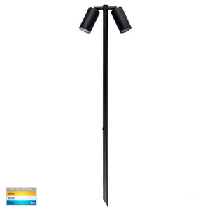 HV1425T - Tivah Black TRI Colour Double Adjustable LED Bollard Spike Light