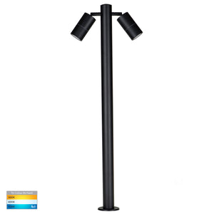 HV1507T-BLK - Tivah Black TRI Colour Double Adjustable LED Bollard Light