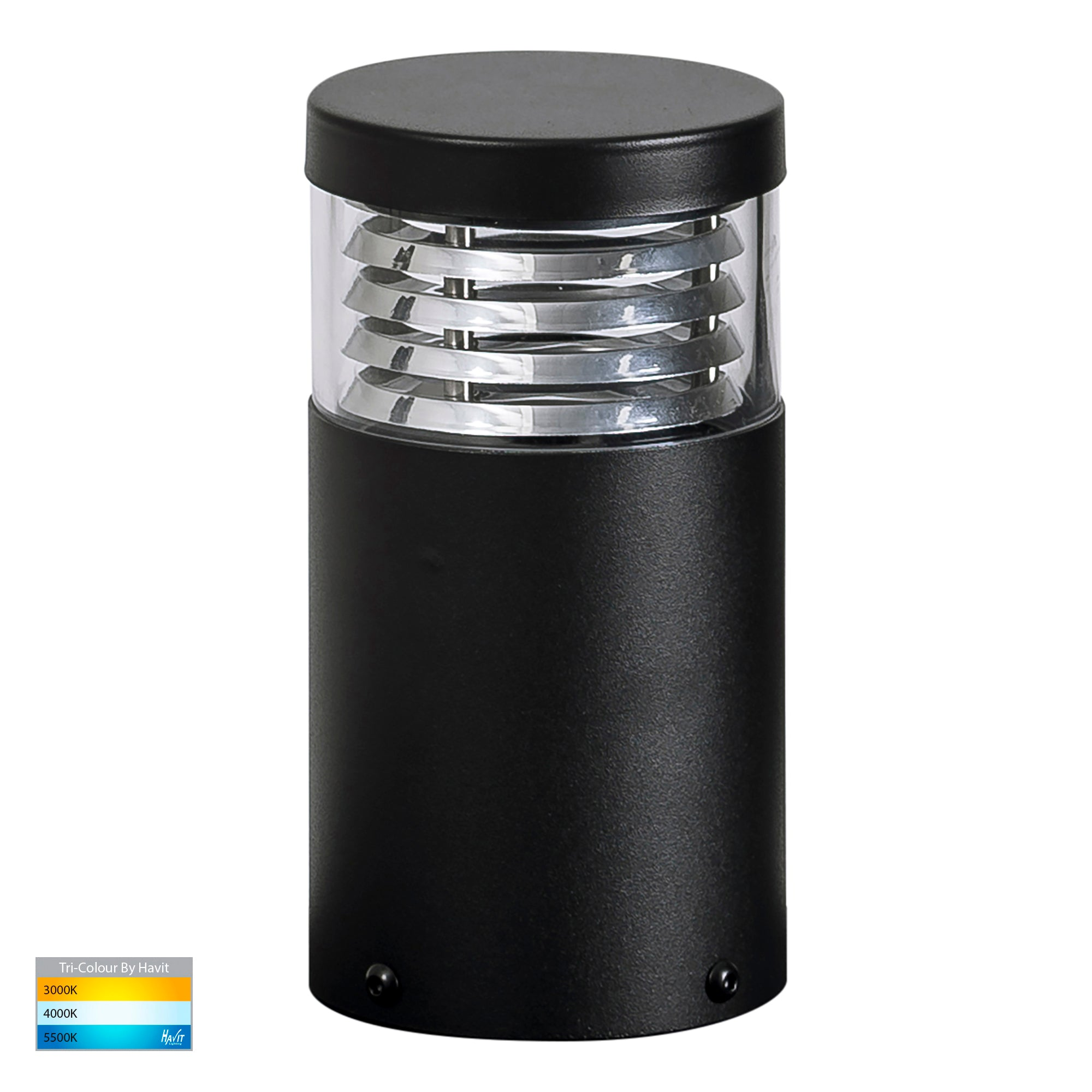HV1615T-BLK -Mini Black Louvred LED Bollard Light