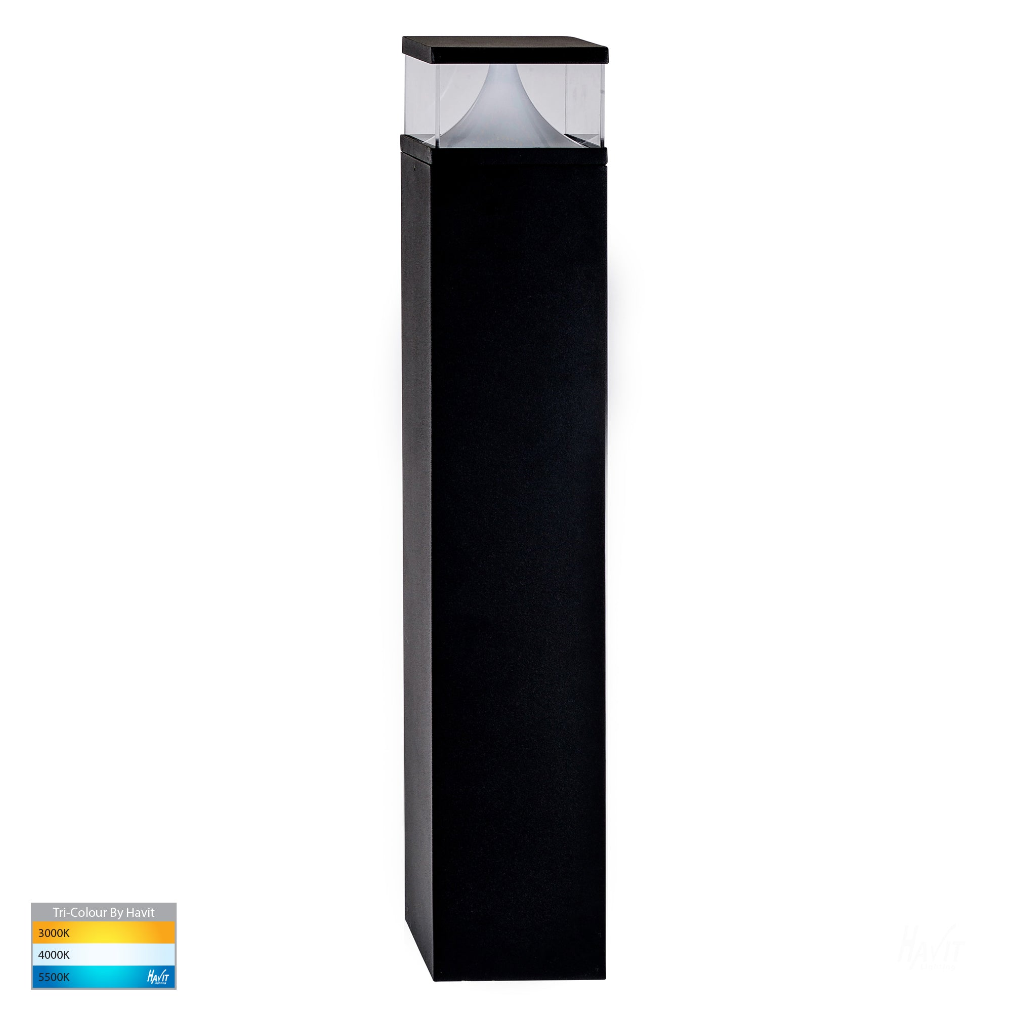 HV1628T-BLK-SQ - Divad 600mm Black LED Bollard Light