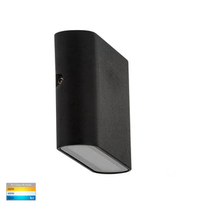 HV3641T-BLK - Lisse Black Fixed Down TRI Colour LED Wall Light