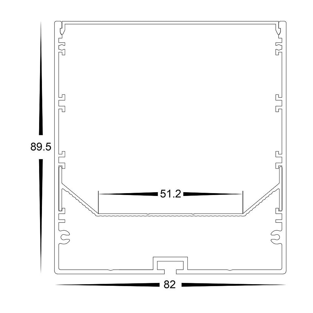 HV9693-8090-WHT - Large White Deep Square Aluminium Profile