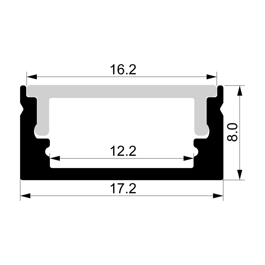 HV9699-1708-2M - Shallow Square Aluminium Profile 2m Length