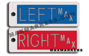 "Plastic Markers - 1/2"" Full Word Left & Right With Initials"