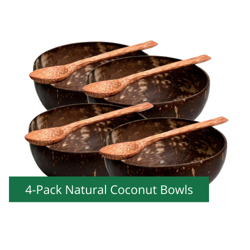 Four Coconut bowls + Four FREE Coconut Wood Spoons