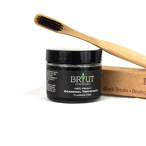 charcoal toothpaste + bamboo toothbrush