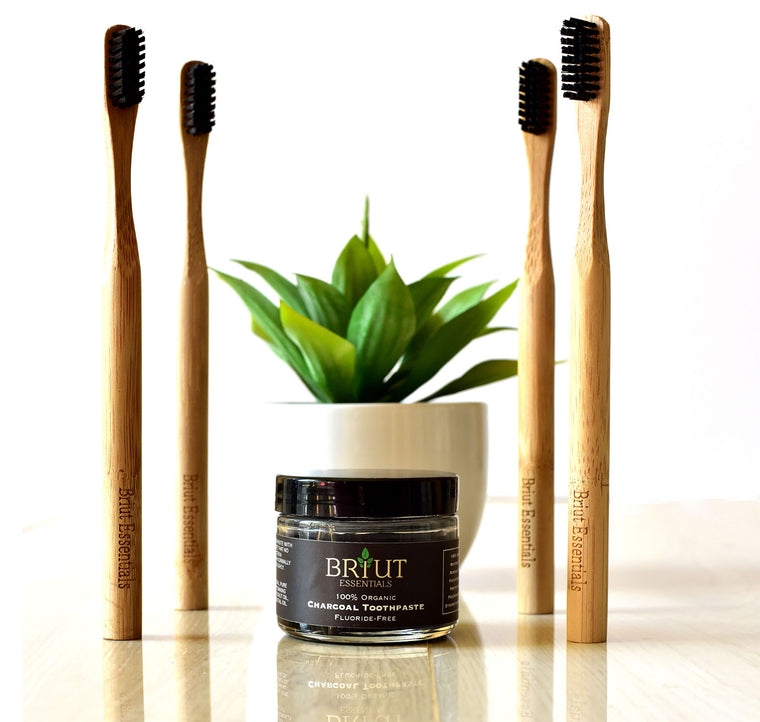 4 Pack Bamboo Toothbrush + Charcoal Toothpaste
