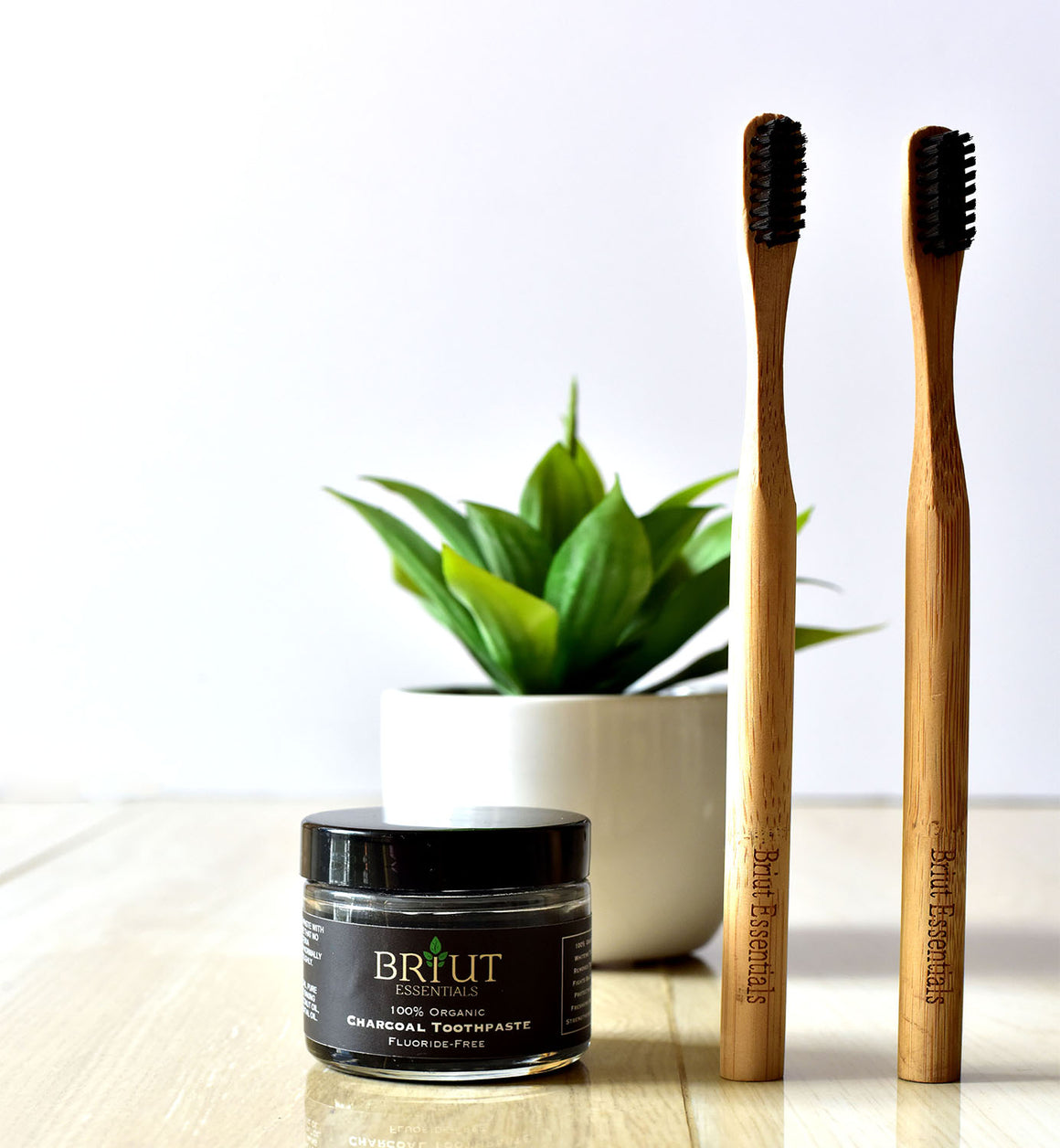 Charcoal Toothpaste (Not a Powder) + 2 Charcoal Biodegradable Toothbrushes