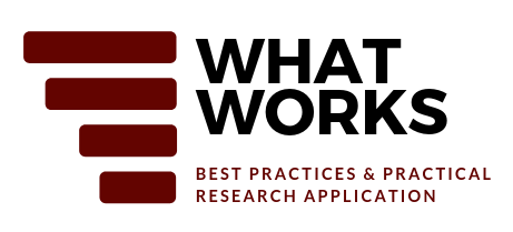 Conference Logo: 4 horizontal maroon lines on the left side. Right side: What Works: Best Practices & Practical Research Application
