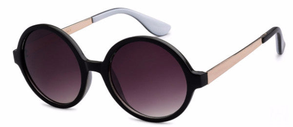 Round women's fashion sunglasses with black frames and gold and dove gray colored accents, inspired by the glamorous reputation of Hollywood, CA | socalsunnies.com